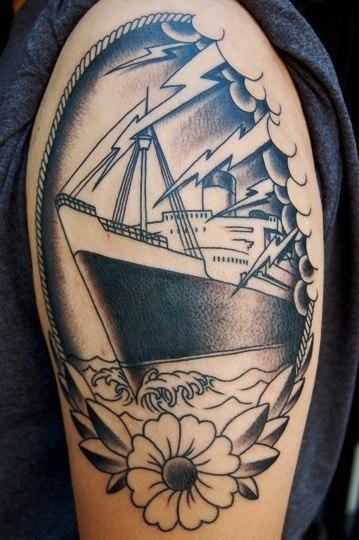Flower And sailor Ship Nautical Tattoo On Half sleeve