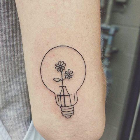 Broken Lightbulb Tattoo Small