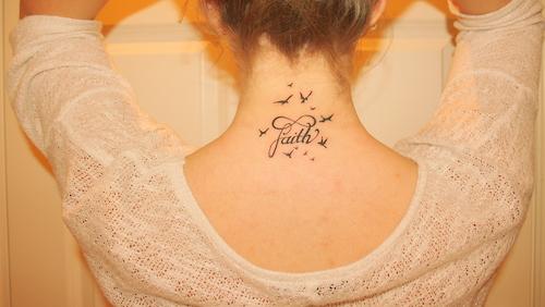 Flying Birds With Infinity Faith Tattoo On Back Neck