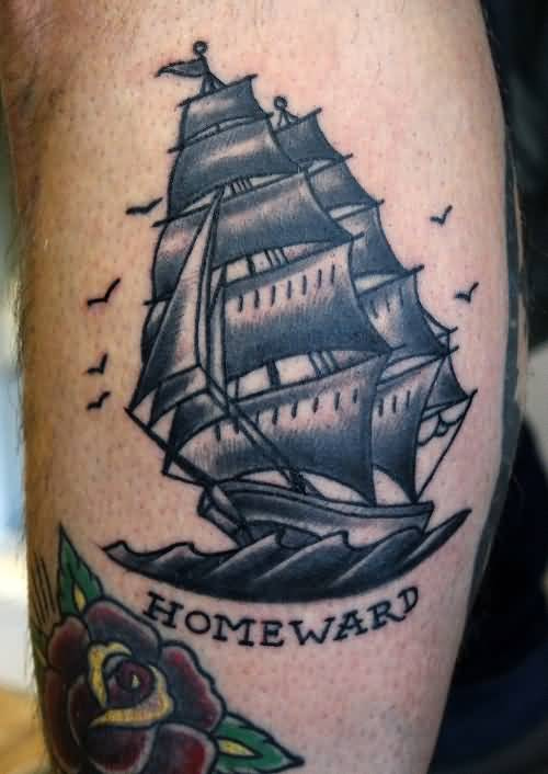Gray Sailor ship Nautical Tattoo On Leg