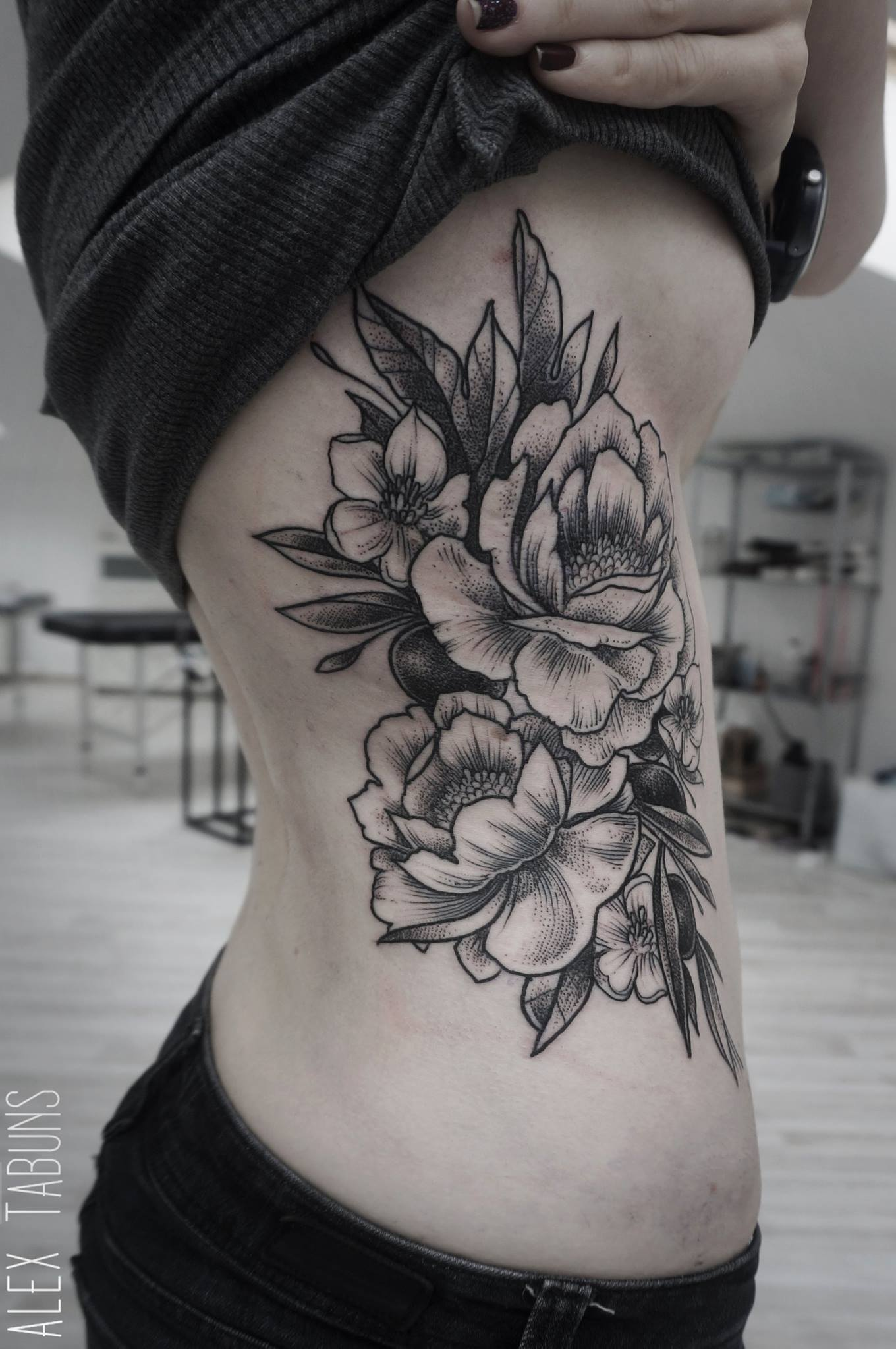Daisy floral tattoo on back shoulder grey ink floral tattoo on side rib izmirmasajfo Image collections