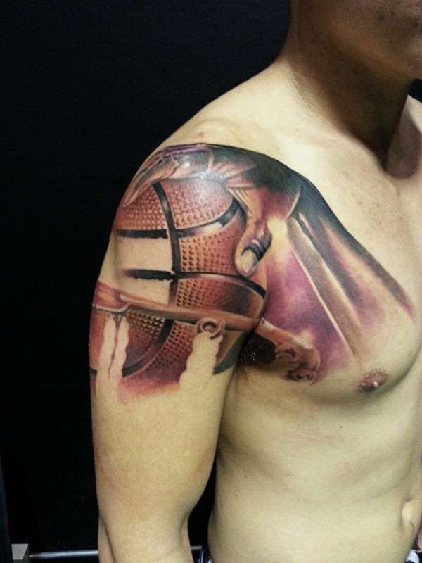 Basketball With Hand Tattoo On Full Arm