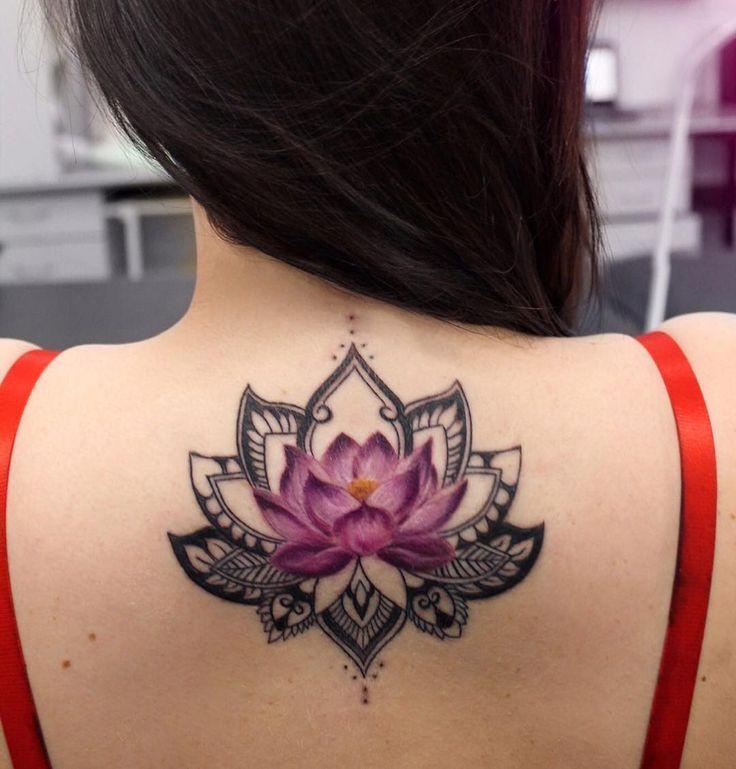 Incredible Lotus Tattoo On Girls Back