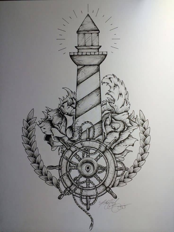 Lighthouse And Compass Nautical Tattoo Design