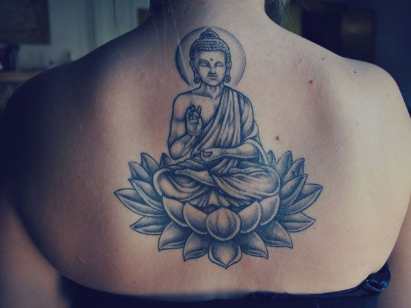 Lord buddha sitting on lotus flower tattoo mightylinksfo Image collections