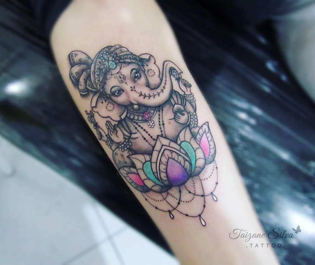 Lotus flower tattoo lower arm flowers healthy lord ganesha sitting on lotus tattoo on forearm izmirmasajfo