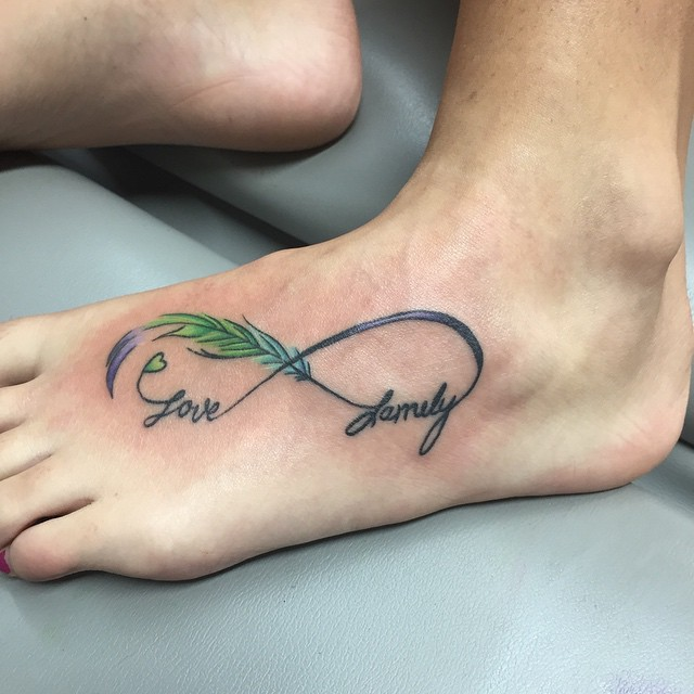Infinity Love Tattoo On Foot Love Family Tex...