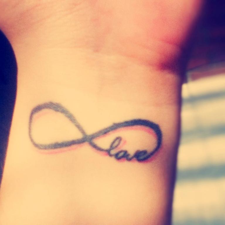 Love Infinity Symbol Tattoo On Wrist