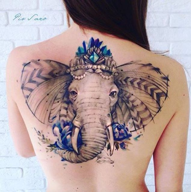 Mandala Elephant Head Tattoo On Back