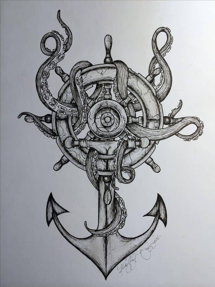 Octopus Anchor And Sailor Wheel Nautical Tattoo Design
