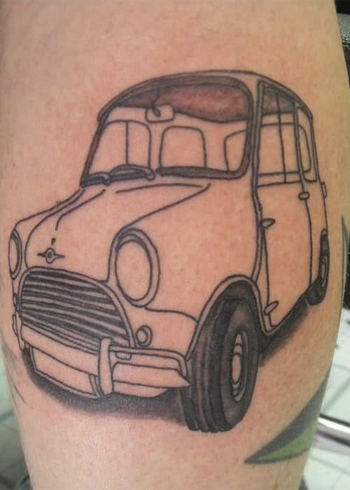 Old Outline Car Tattoo Design Idea