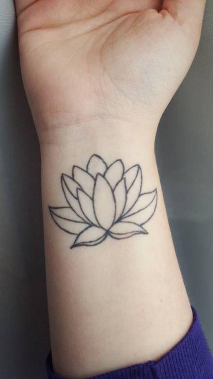 Outline lotus flower tattoo on right wrist mightylinksfo