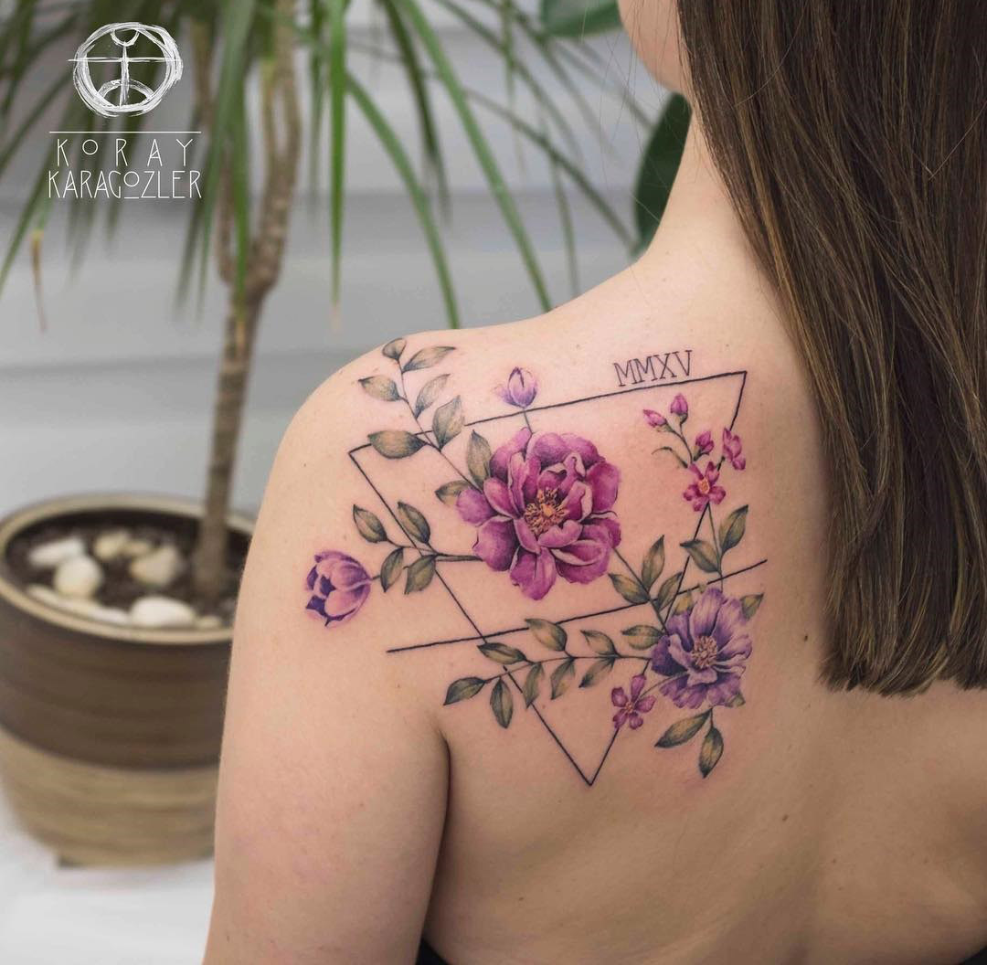 Pretty Floral With Triangle Tattoo On Back Shoulder