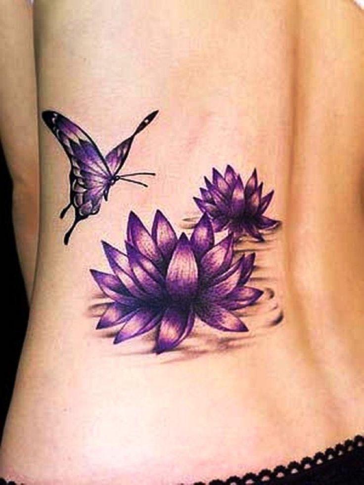Purple twin lotus and butterfly tattoo on back purple butterfly and lotus tattoos on lower back mightylinksfo