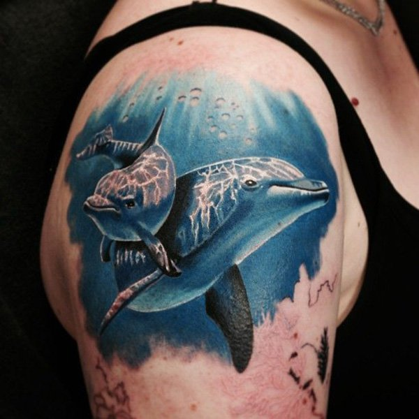 Realistic dolphin couple Tattoo On Shoulder