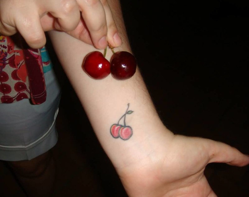 Red Delicious Cherry Tattoo On Wrist