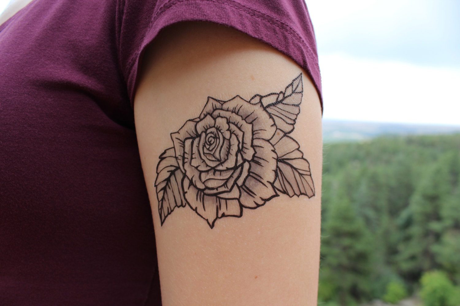 Floral tattoo images designs for Rose outline tattoo