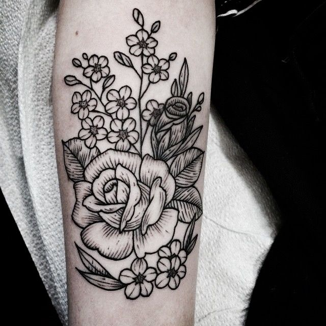 Rose Floral Tattoo On Bicep
