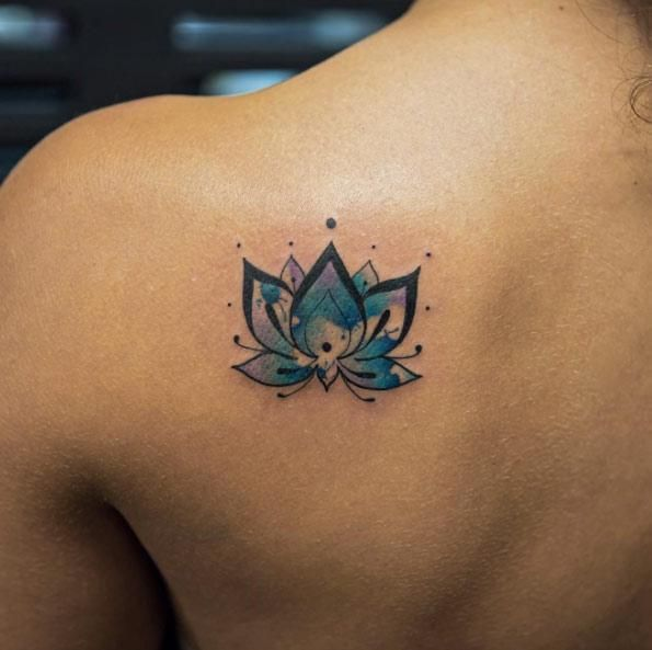 Small Blue Lotus Tattoo On Back Shoulder