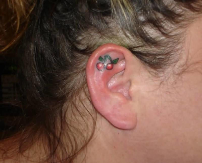 Small Cherry Tattoo On earlobe
