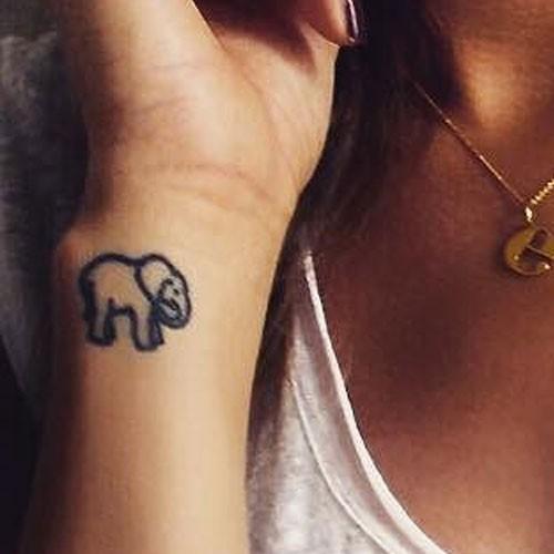 Small Elephant Tattoo On Wrist