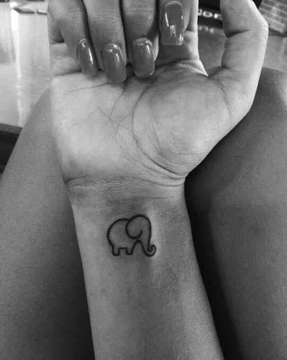 Small Outline Elephant Tattoo On Wrist
