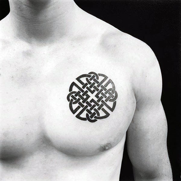 Traditional Celtic Knot Tattoo On Mens Upper Chest
