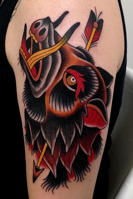 Traditional Boar With Arrow Tattoo On Half Sleeve