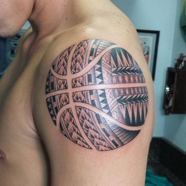 Basketball Chest Tattoos: Tribal Basketball Tattoo On Bicep