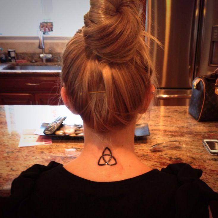 Trinity Black Celtic Knot Tattoo On Girls Back Neck