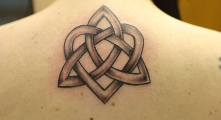Trinity Knot Tattoo On Upper Back