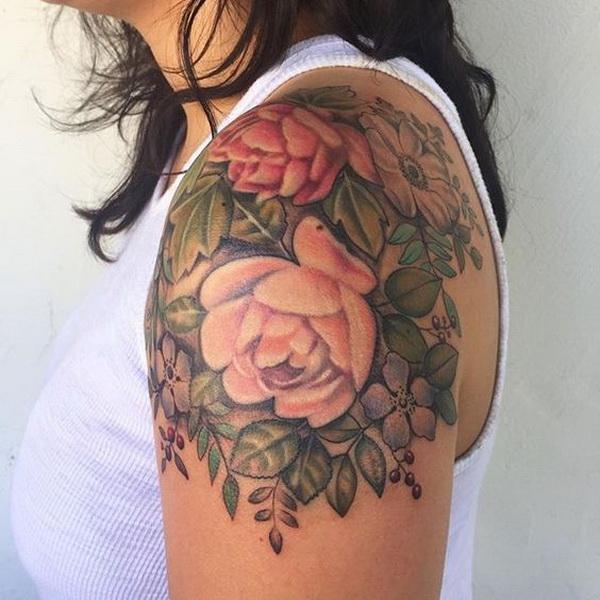 Vintage Floral Tattoo On Shoulder