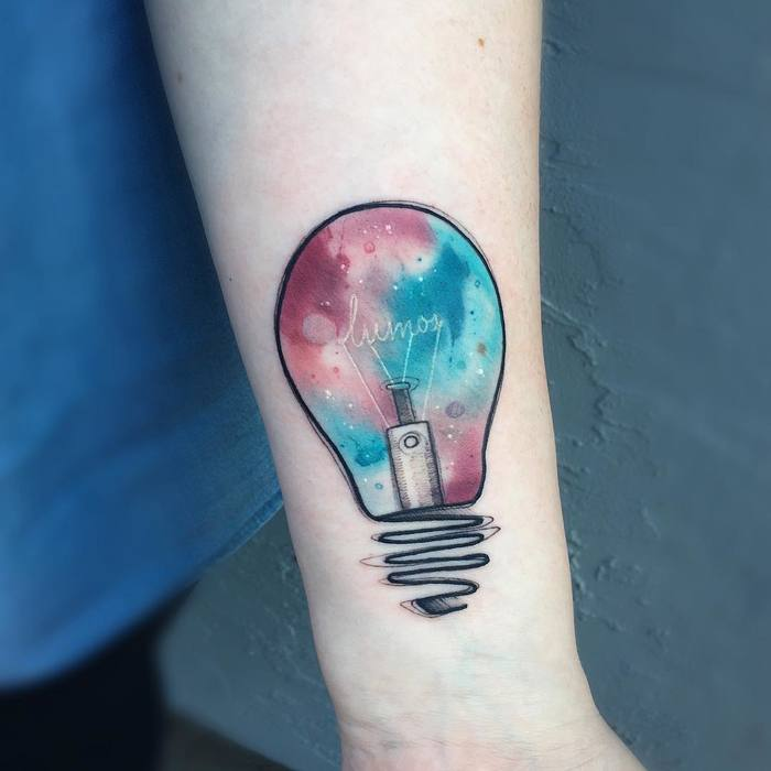 Watercolor Bulb Tattoo On Forearm
