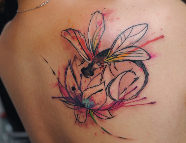 watercolor flower and dragonfly tattoo design. Black Bedroom Furniture Sets. Home Design Ideas