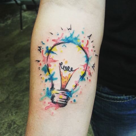 Watercolor Light Bulb Tattoo On Forearm