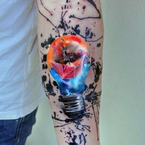 Watercolor Paper boat In Light Bulb Tattoo On Forearm