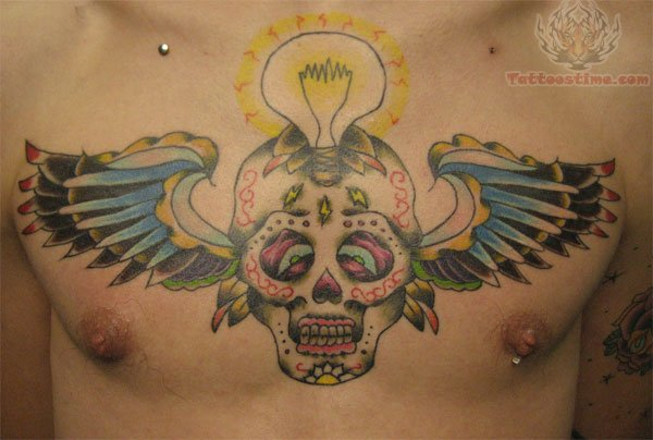 Winged Sugar Skull With Light Bulb Tattoo On Chest