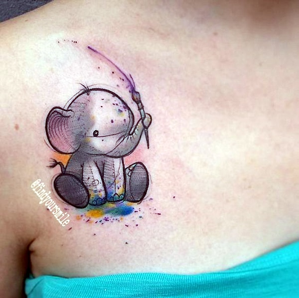 watercolor baby Elephant Tattoo