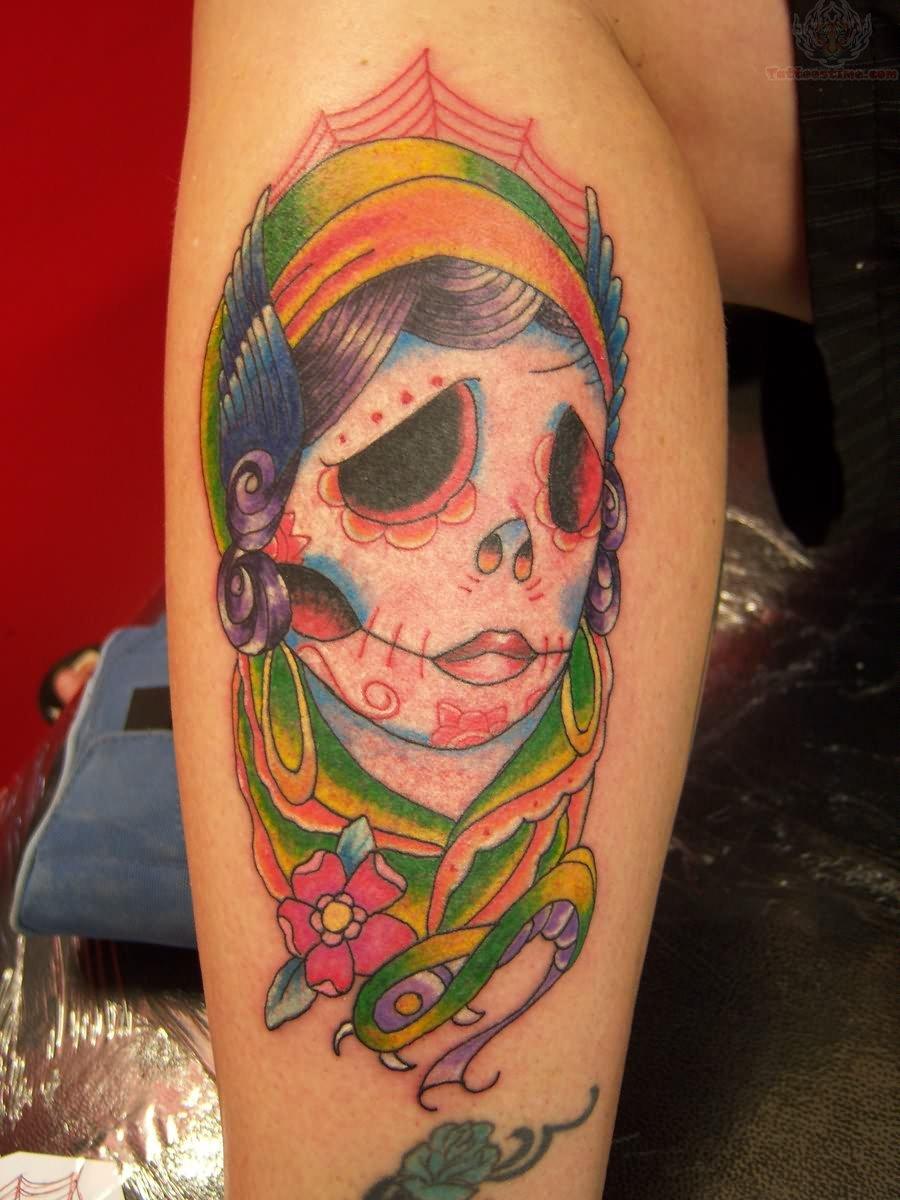 Gypsy Sugar Skull Tattoo On Leg