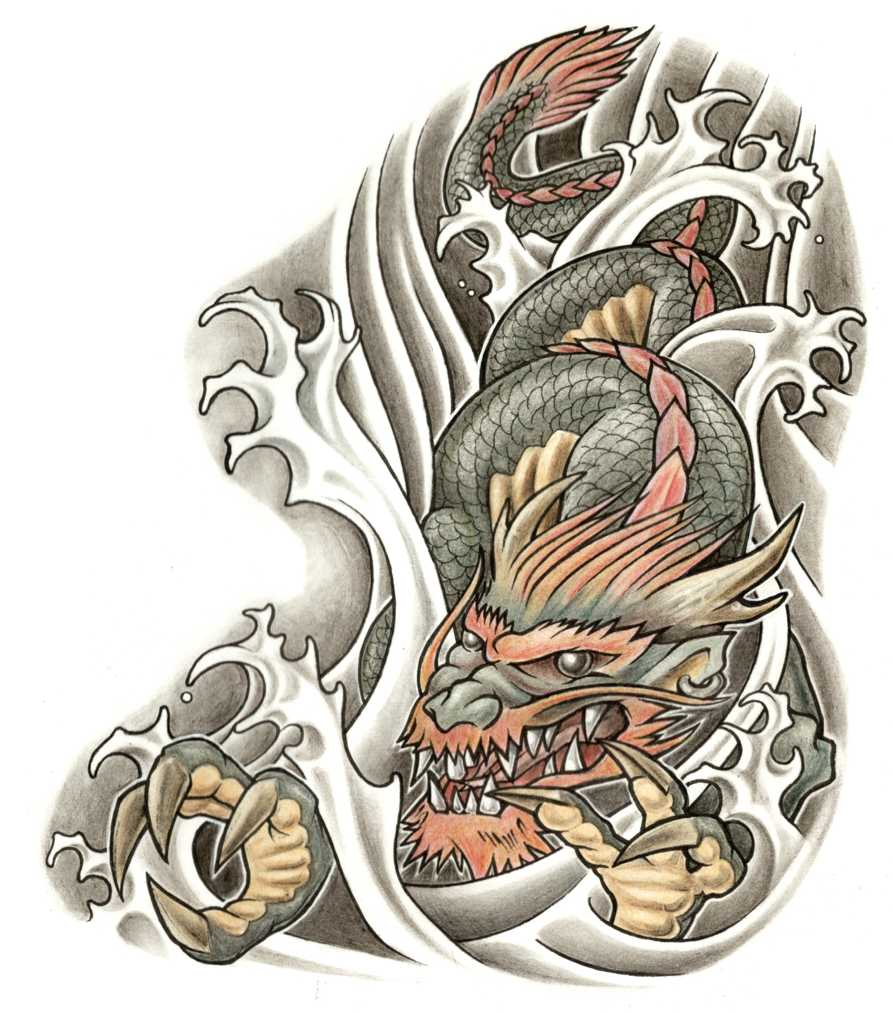 Wonderful Colored Dragon Tattoo Design For Men