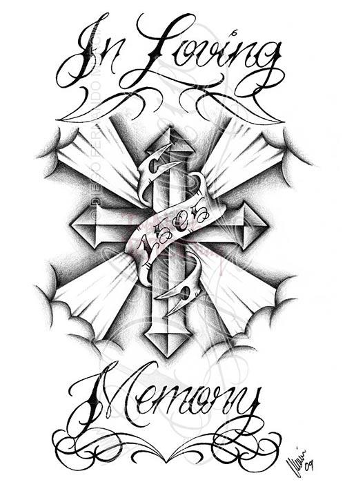 Wonderful In Loving Memory Cross Tattoo Design XT38