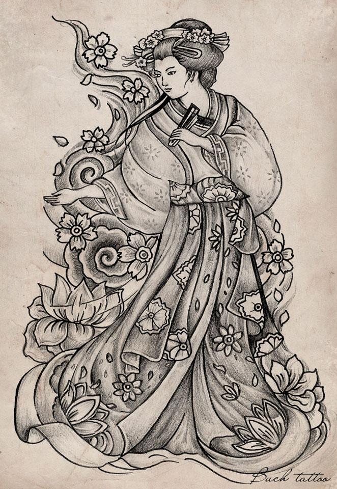 Fine Grey Ink Geisha Tattoo Design