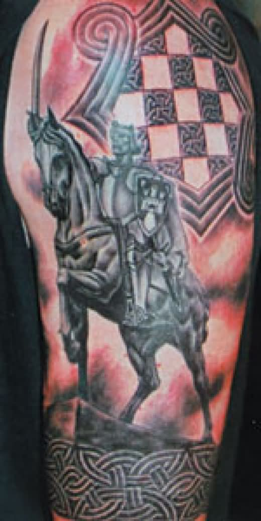 Celtic Warrior Tattoo On Left Half Sleeve