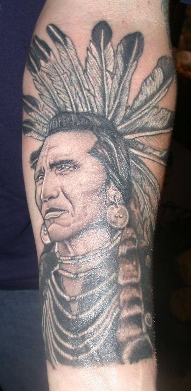 Indian Chief Feathers Tattoo Half Sleeve