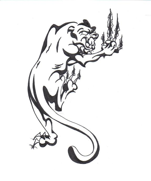 Outline Panther Tattoo Designs