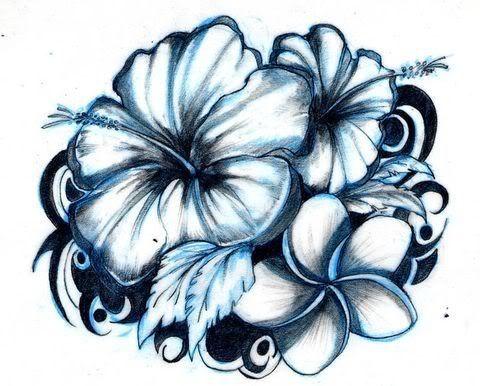 Blue Hibiscus Flowers Tattoo Design